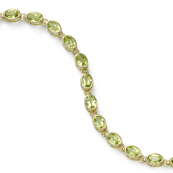 Oval Peridot Gemstone Bracelet, 14K Yellow Gold