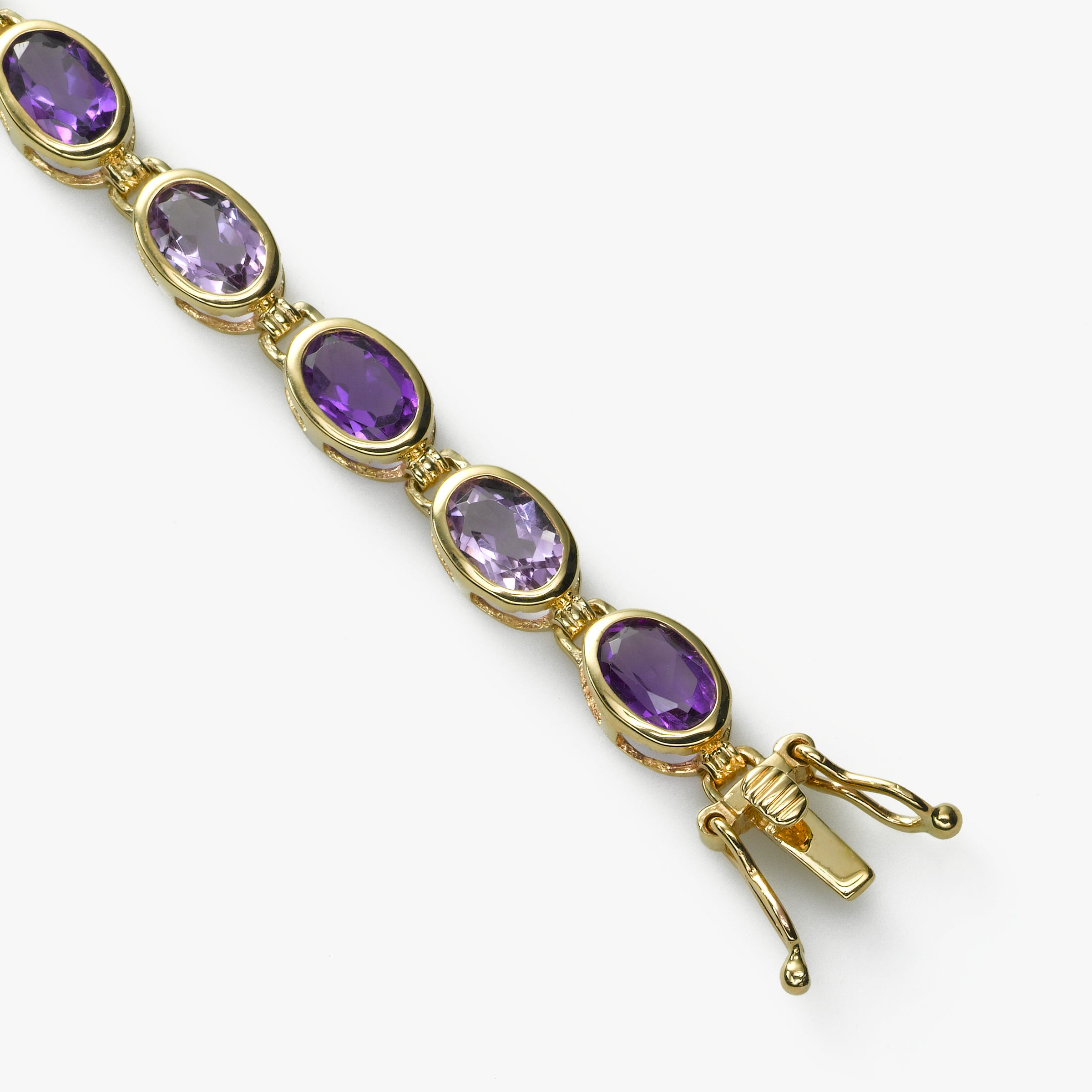 Oval Amethyst Gemstone Bracelet, 14K Yellow Gold