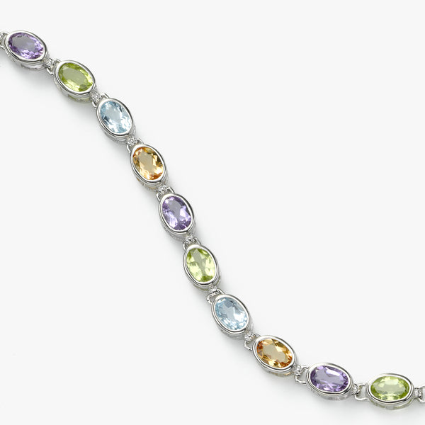 Colorful Gemstone Bracelet, 14K White Gold