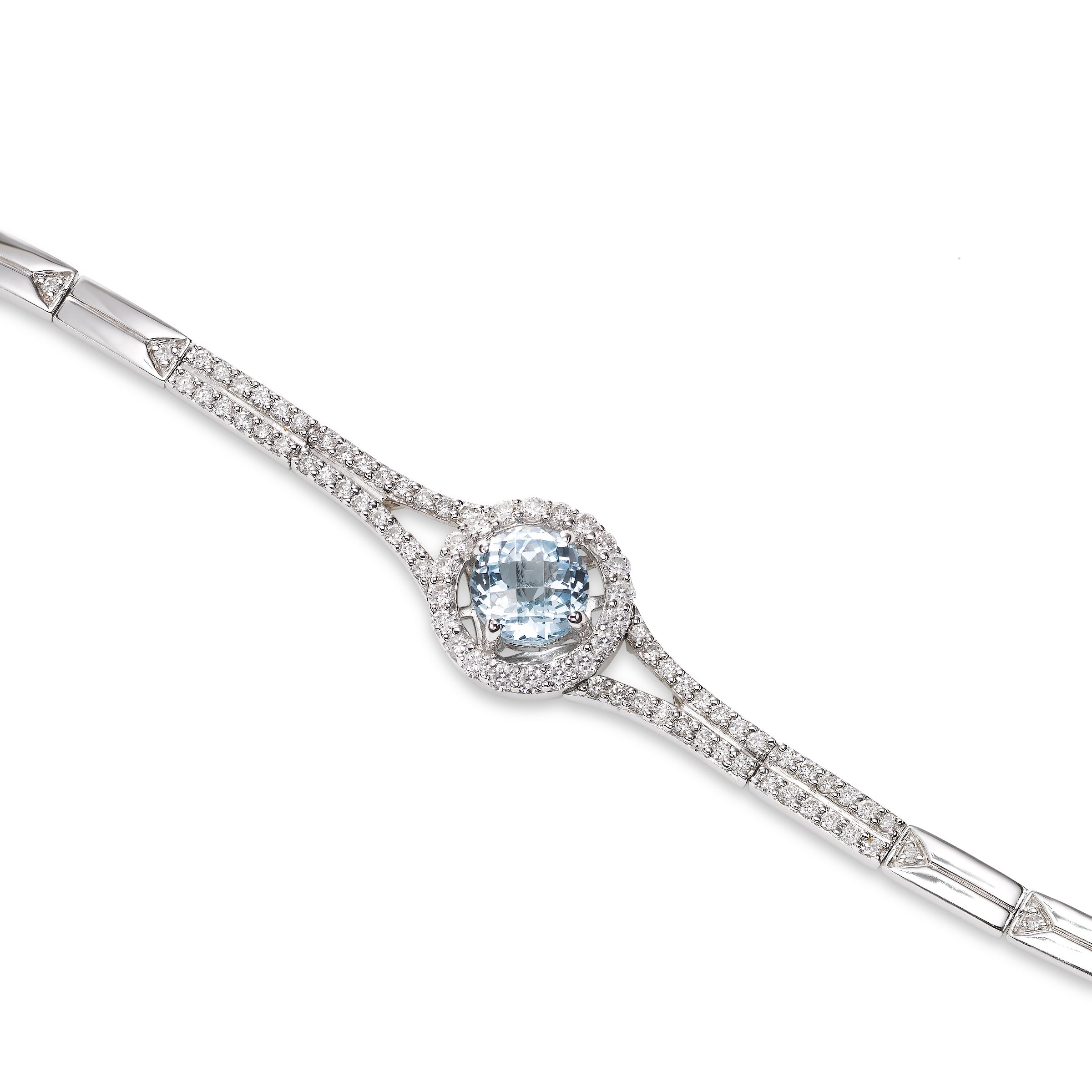 Blue Topaz and Diamond Bracelet, 18K White Gold