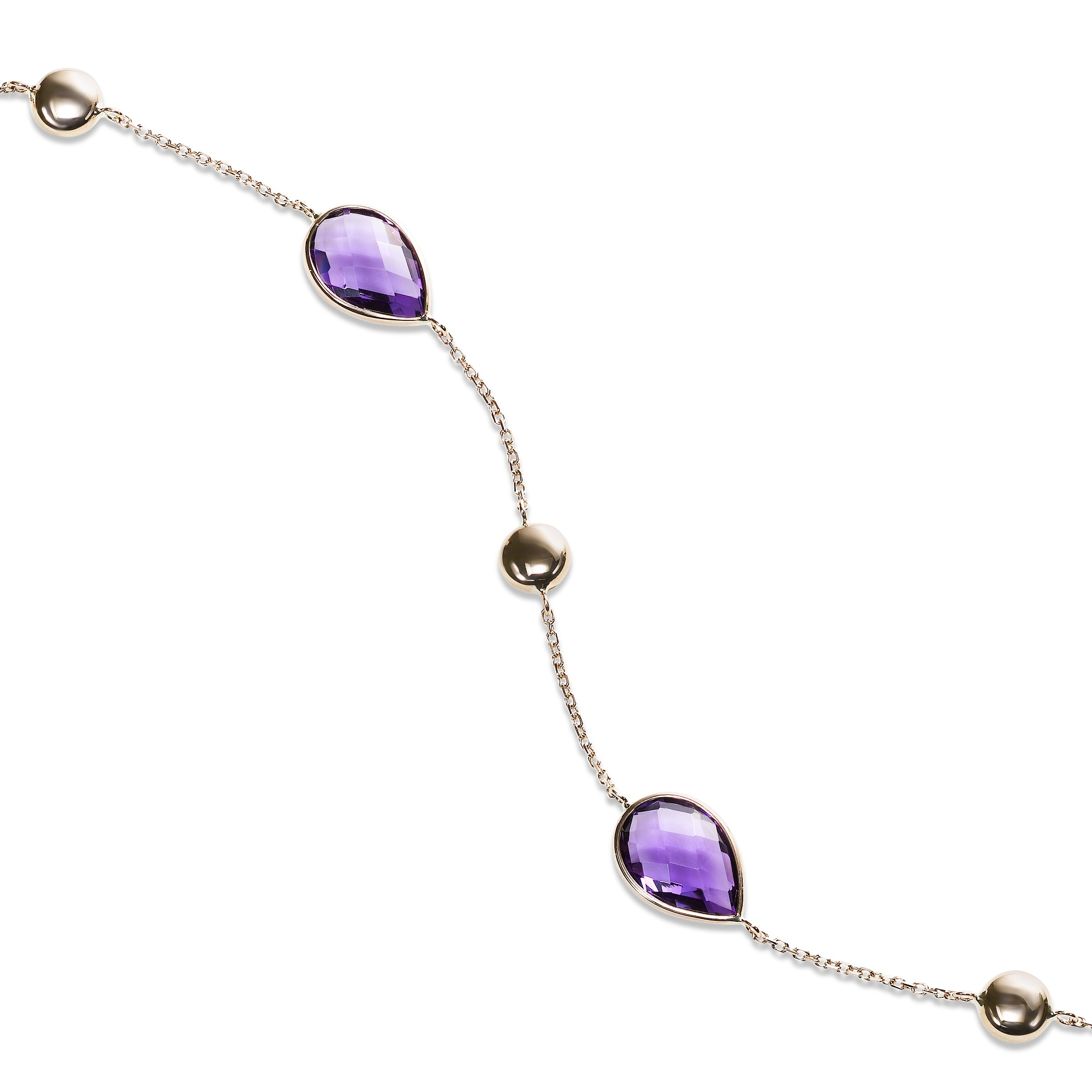 Pear Shaped Amethyst Flexible Bracelet, 14K Rose Gold