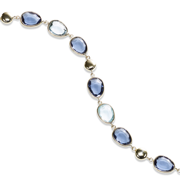 Multi Hue Blue Topaz Flexible Bracelet, 14K Yellow Gold