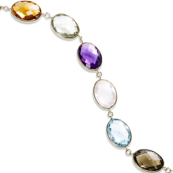 Multi Stone Oval Cut Flexible Bracelet, 14K Yellow Gold