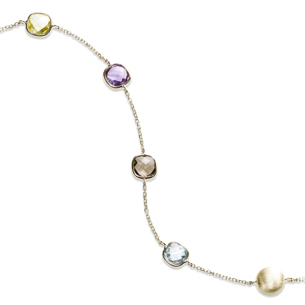 Gemstone Mix Cushion Cut Flexible Bracelet, 14K Yellow Gold