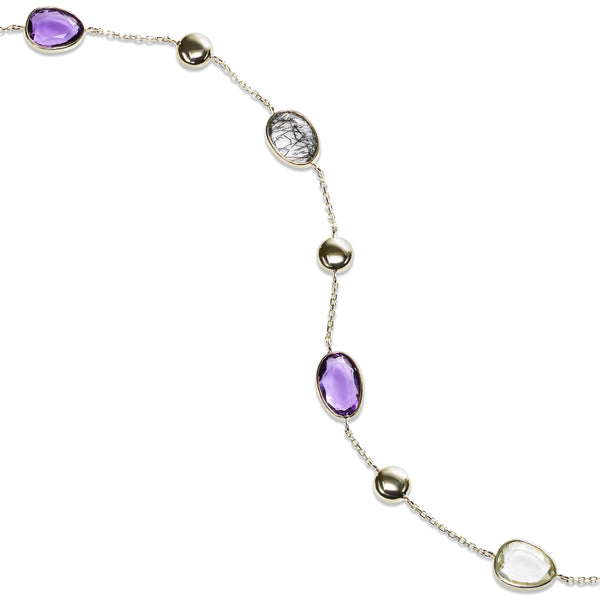 Gemstone Mix Flexible Bracelet, 14K Yellow Gold