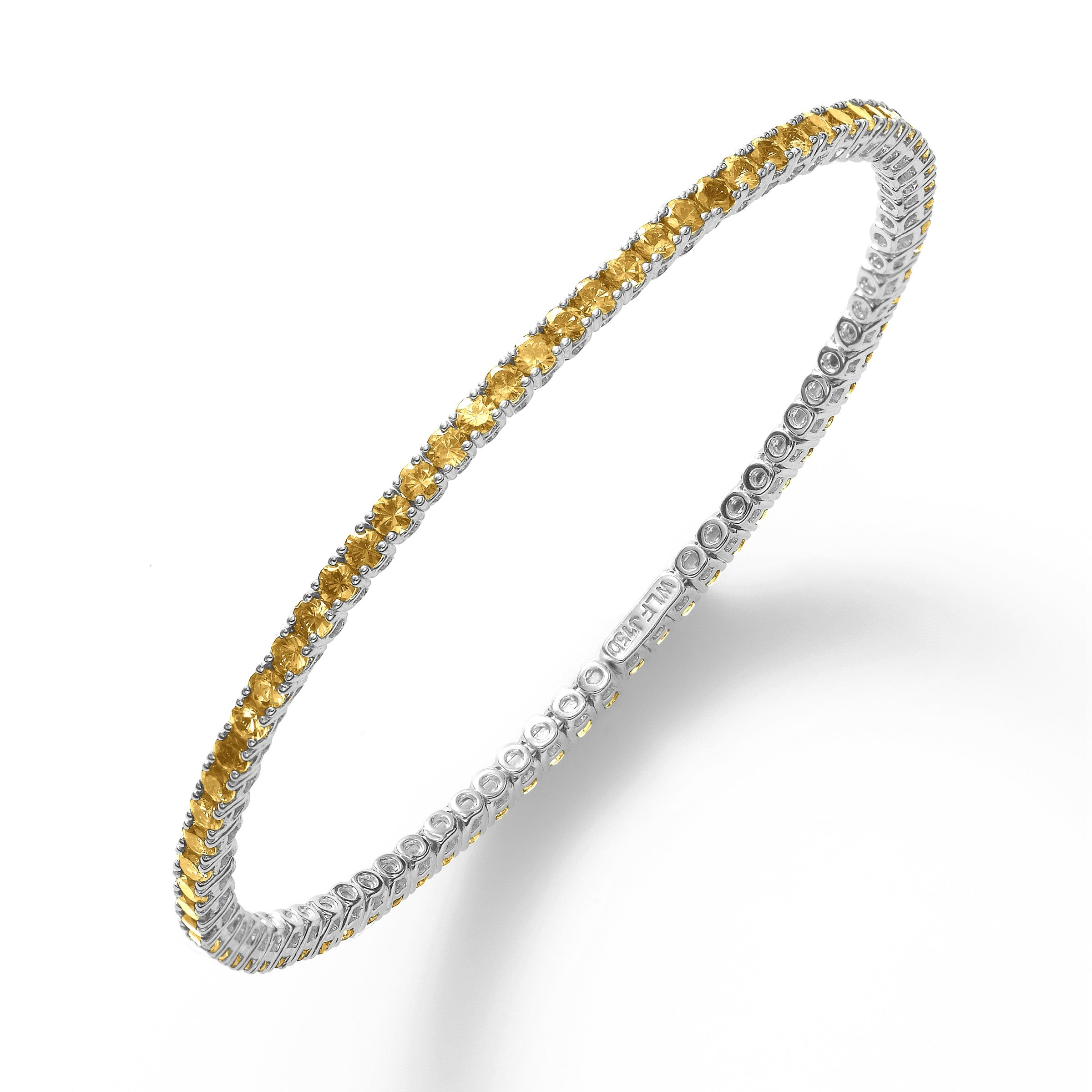 Cuff-Style Yellow Sapphire Bangle Bracelet, 18K White Gold