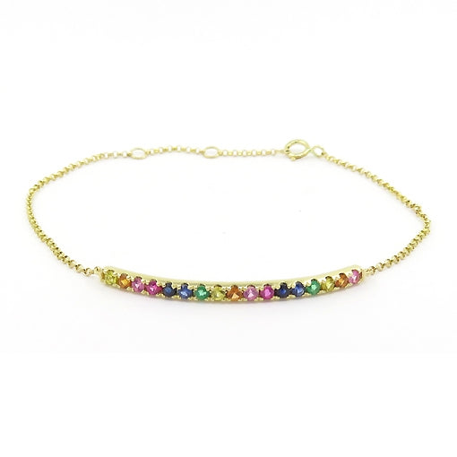 Multi Color Gemstone Rainbow Bracelet, 14K Yellow Gold