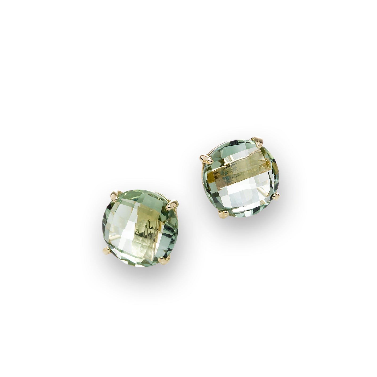 Round Prasiolite Stud Earrings, 14K Yellow Gold