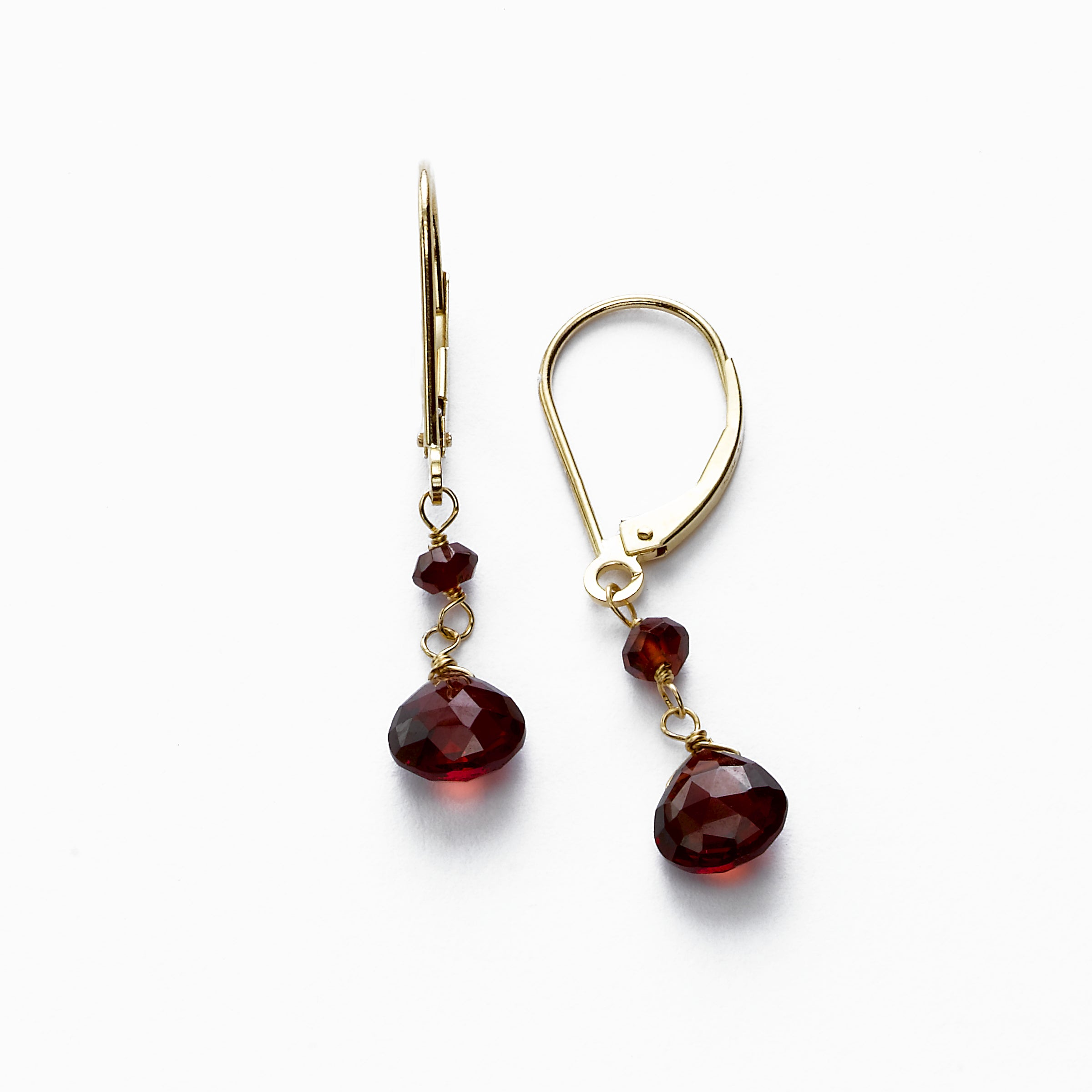 Small Garnet Briolette Drop Dangle, 14K Yellow Gold
