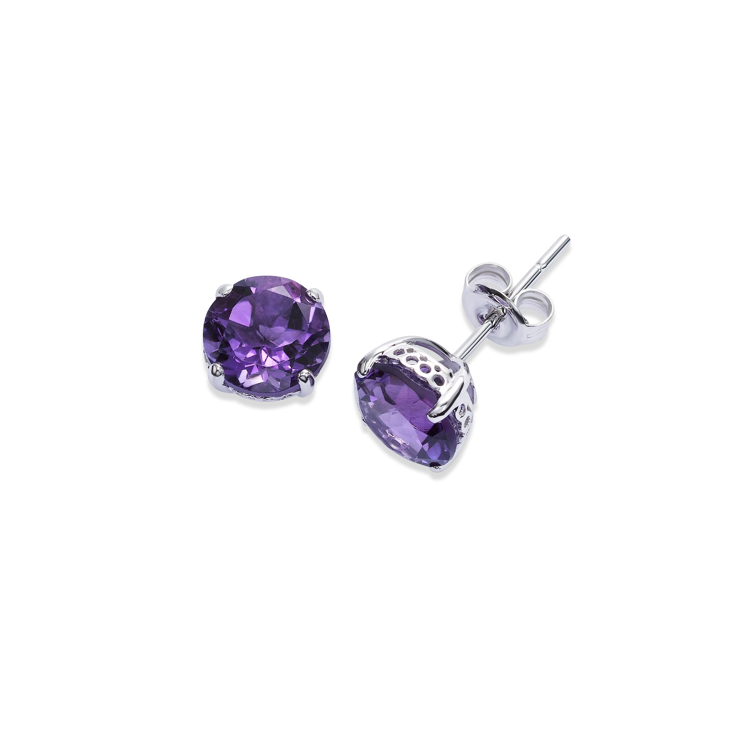 Round Amethyst Stud Earrings, 8 MM, 14K White Gold