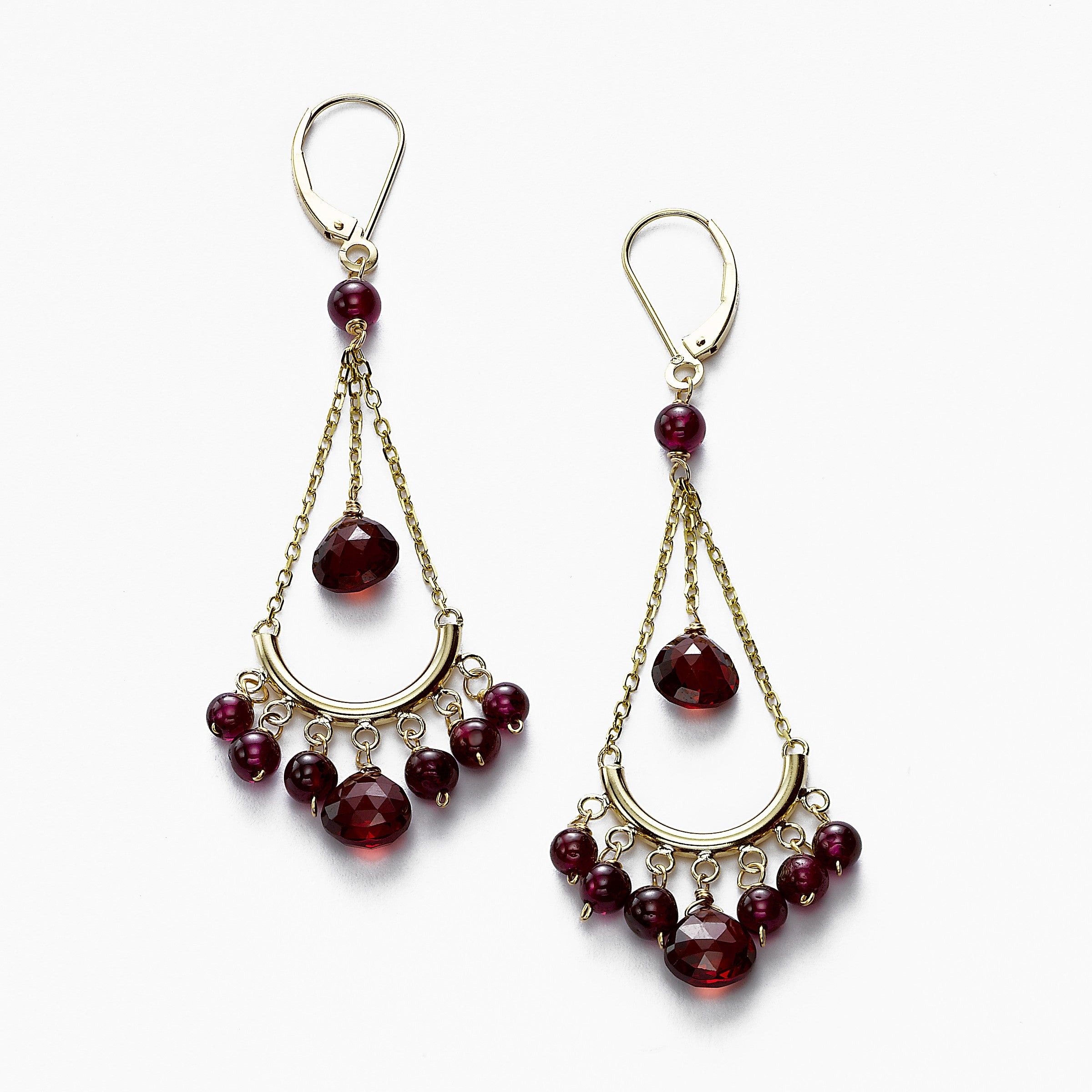 Garnet Chandelier Earrings, 14K Yellow Gold