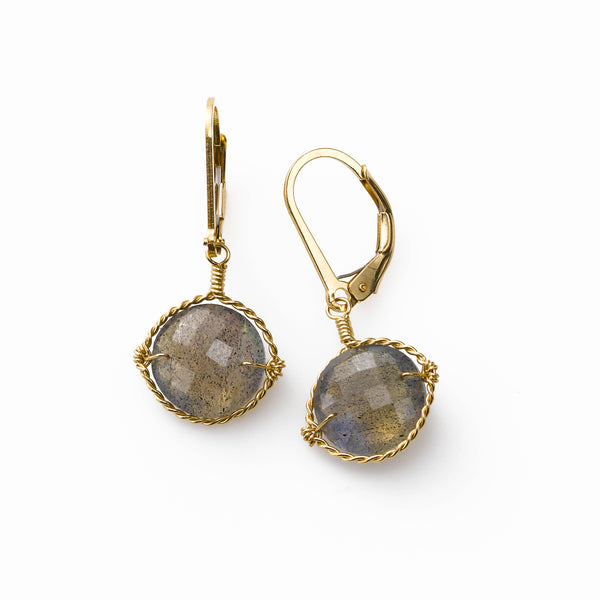Labradorite Drop Earrings, 14 Karat Gold Filled, by Misha of N.Y.