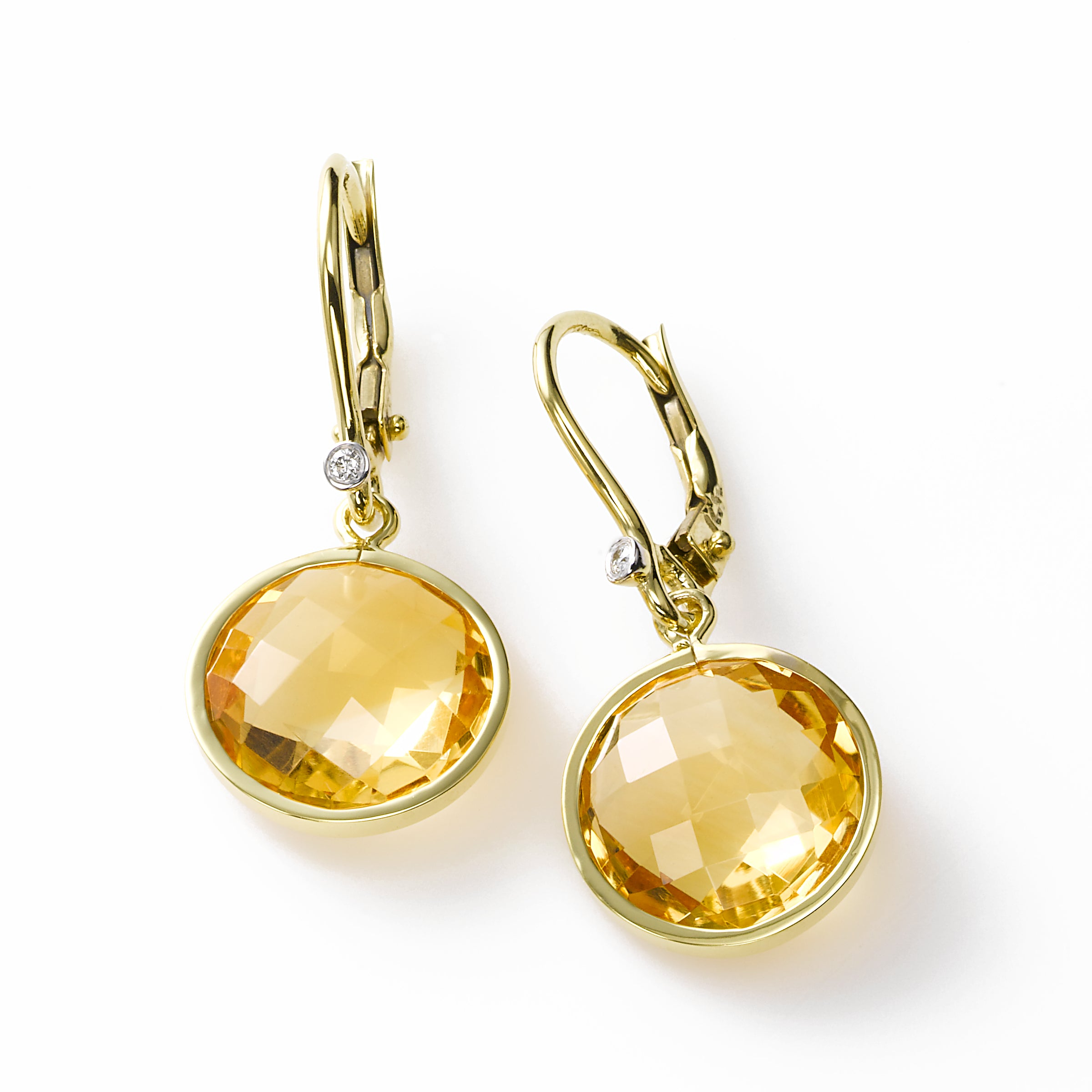 Round Faceted Citrine Drop Earring, 14K