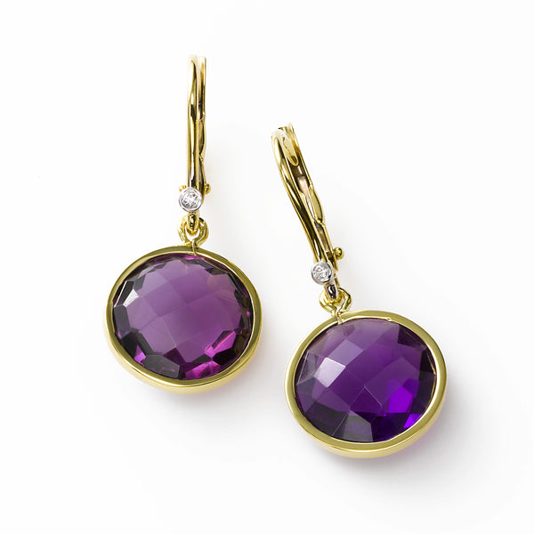 Round Faceted Amethyst Drop Earring, 14K