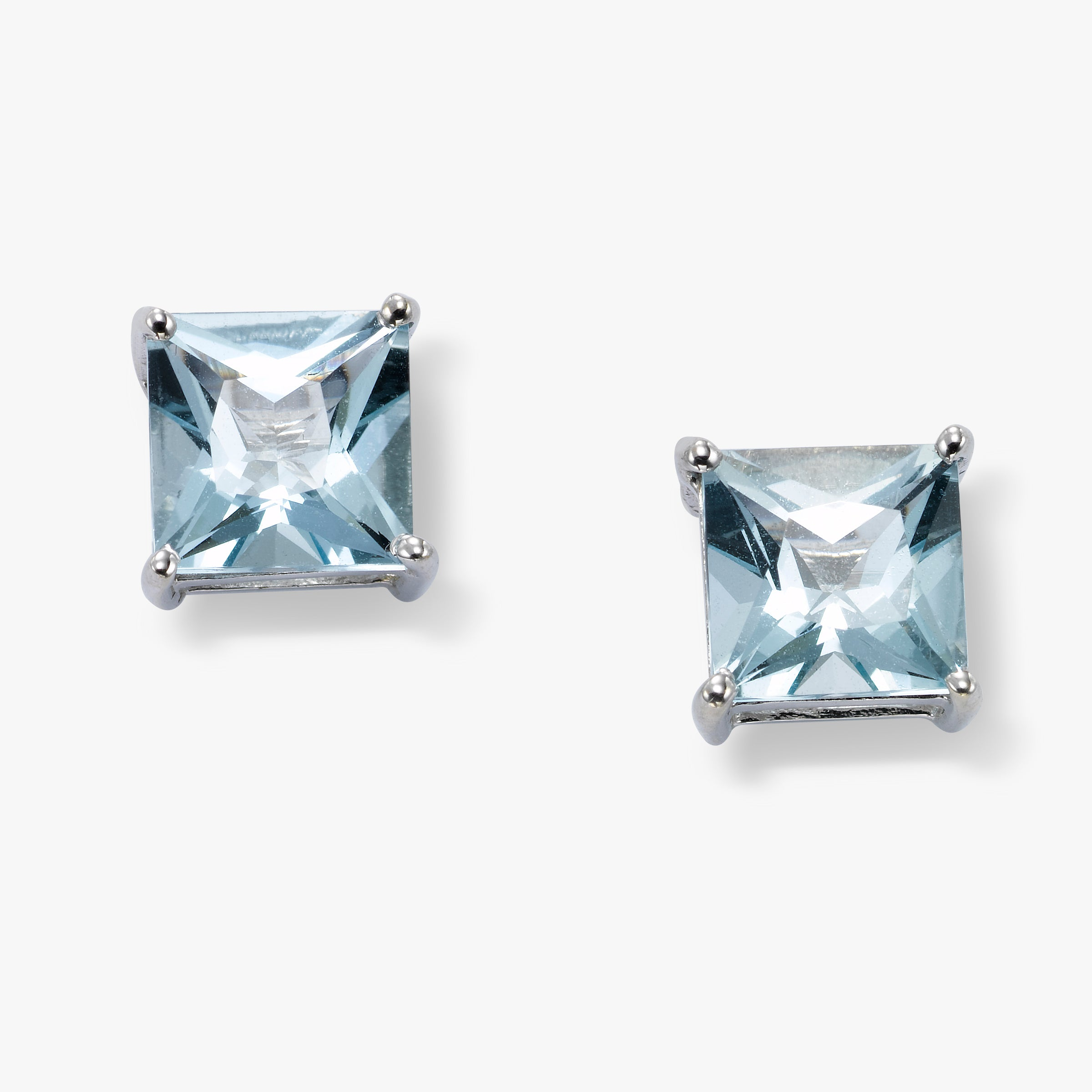 Princess Cut Aquamarine Stud Earrings, 5MM, 14K White Gold