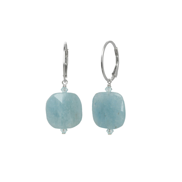 Aquamarine and Crystal Drop Earrings, Sterling Silver, by Margo Morrison