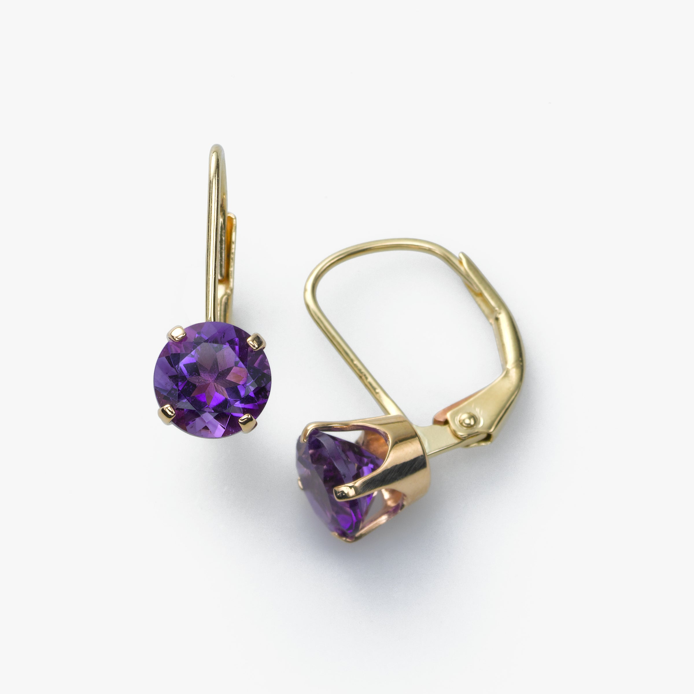 Amethyst Leverback Earring, 14K Yellow Gold