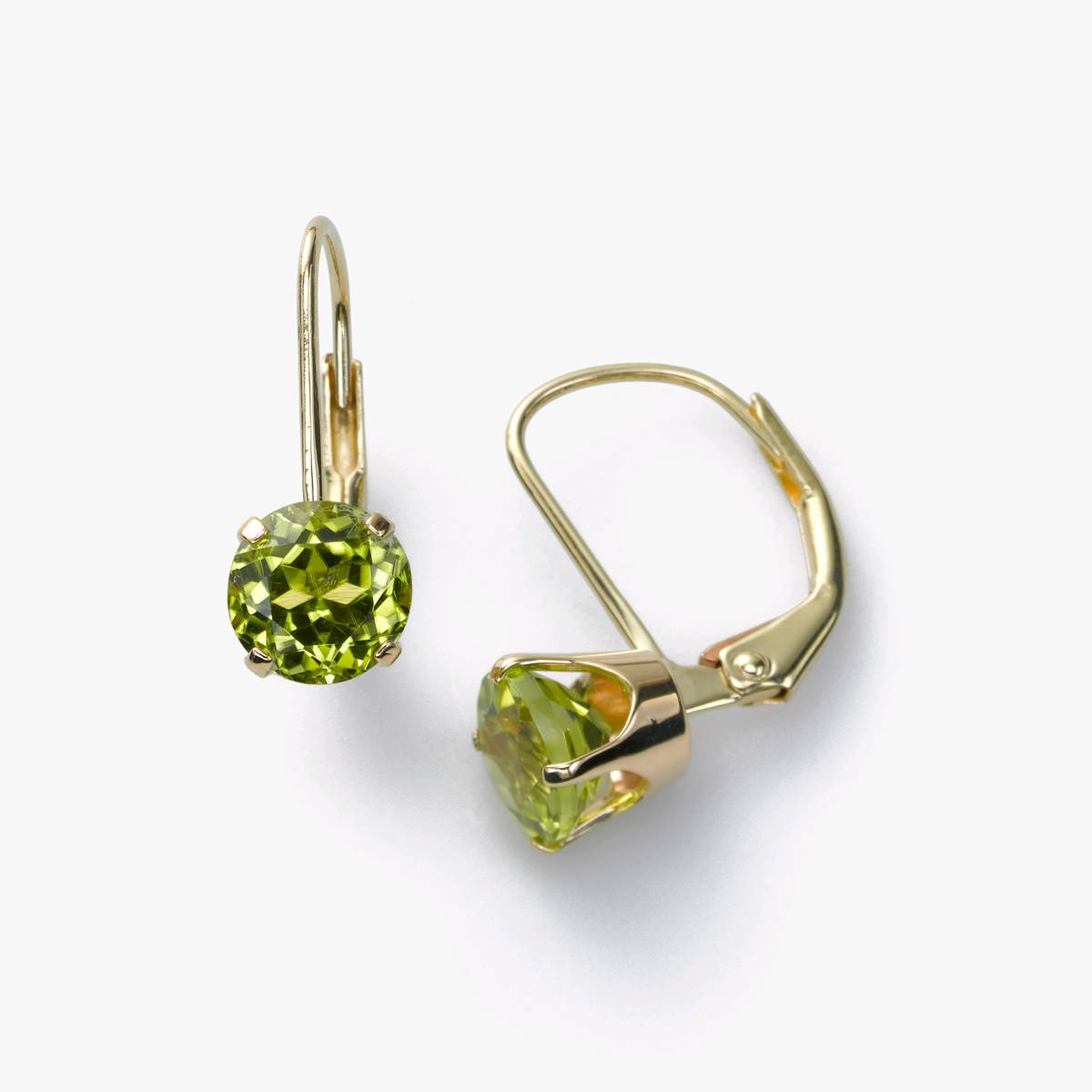 Peridot Leverback Earring, 14K Yellow Gold