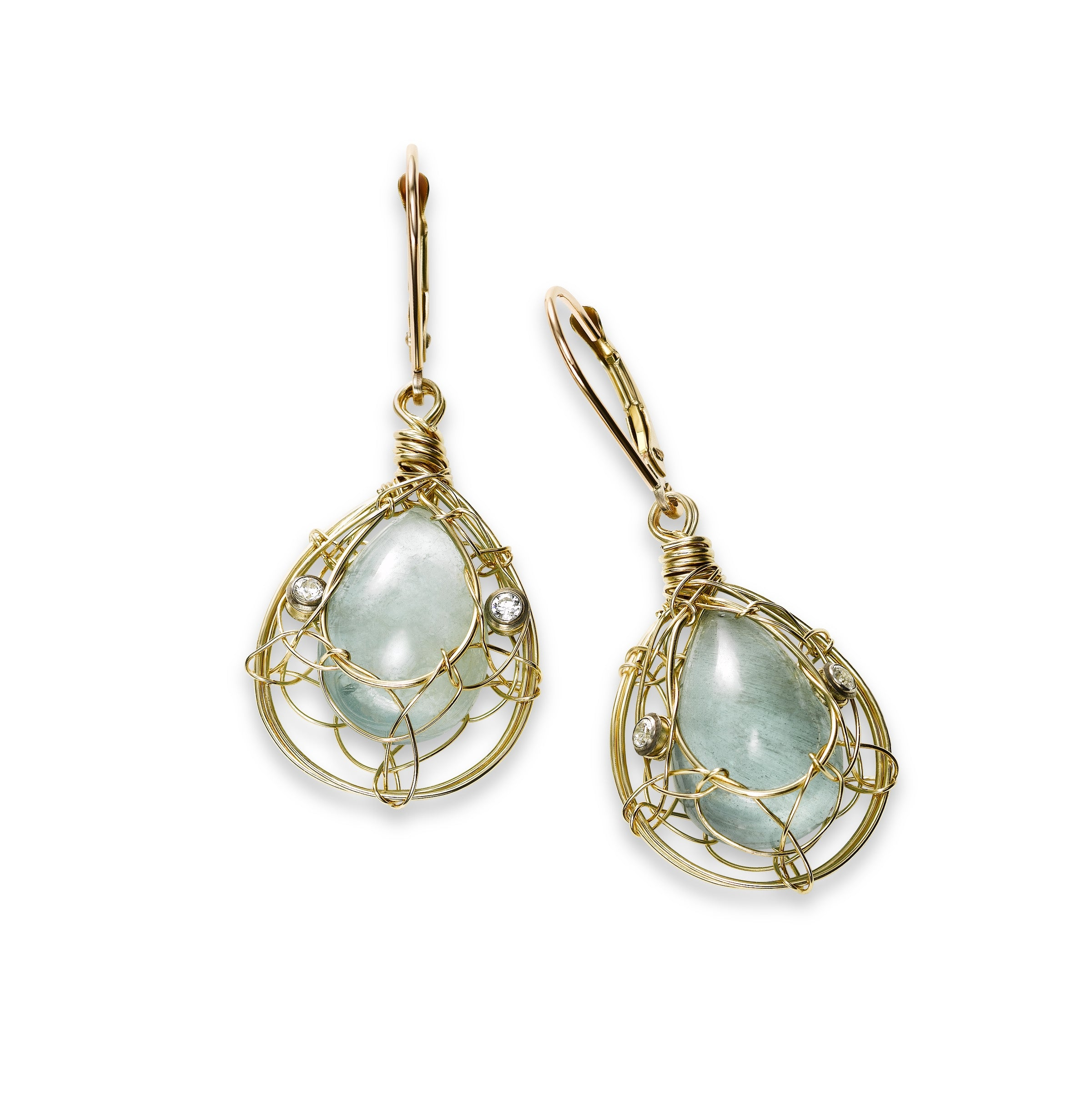 Aquamarine and White Topaz Dangle Earrings, 14K Gold Filled