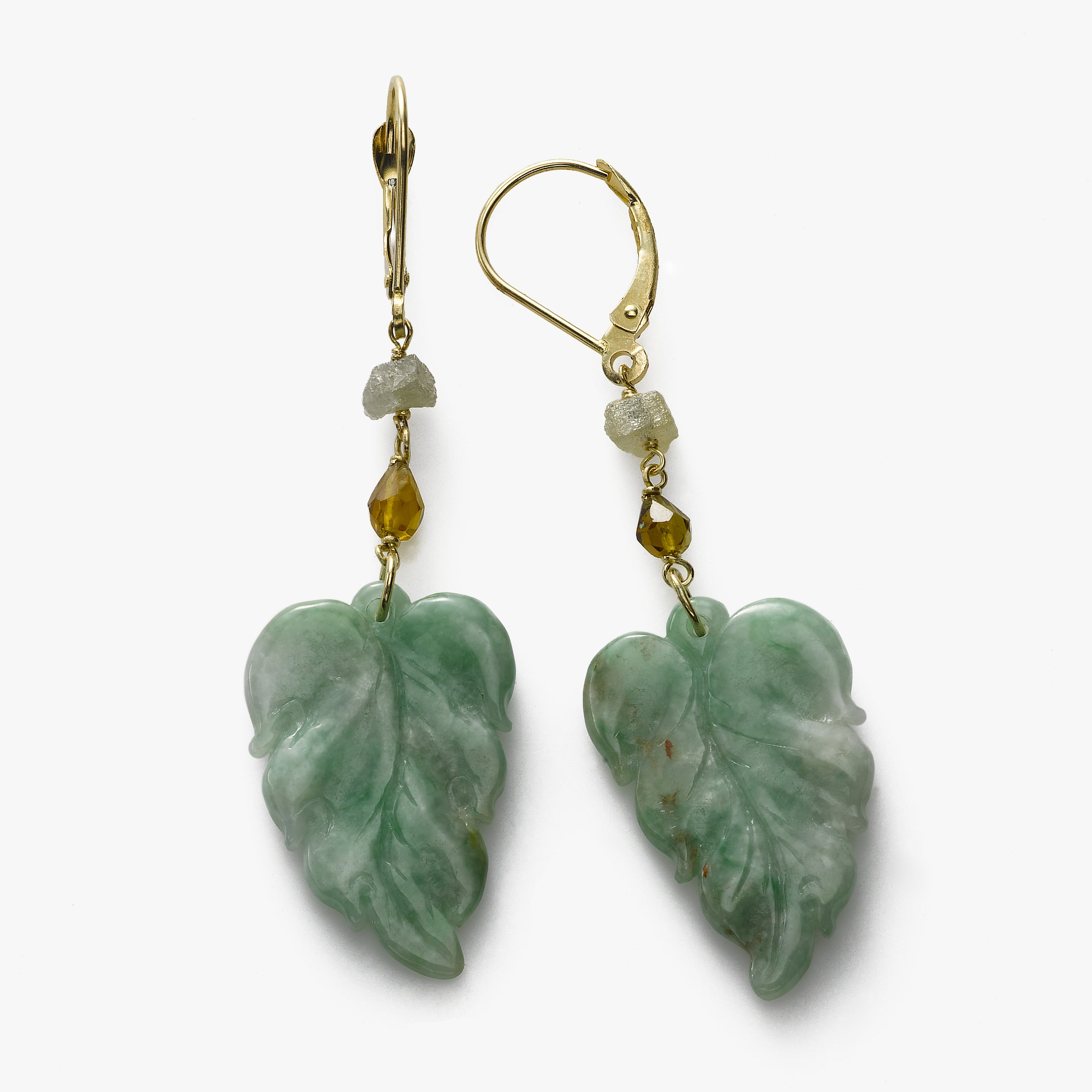 Jade Leaves Earrings, Tourmaline, 14K Yellow Gold