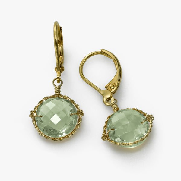 Prasiolite Drop Earrings, 14 Karat Gold Filled