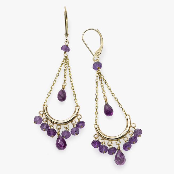 Amethyst Chandelier Earrings, 14K Yellow Gold