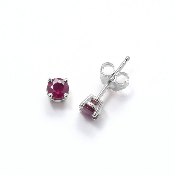 Genuine Ruby Stud Earrings, 14K White Gold