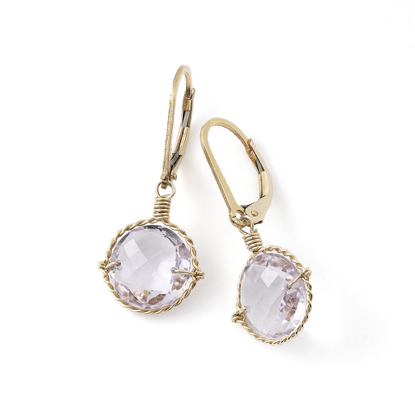 Amethyst Drop Earrings, 14K Gold Filled Sterling Silver
