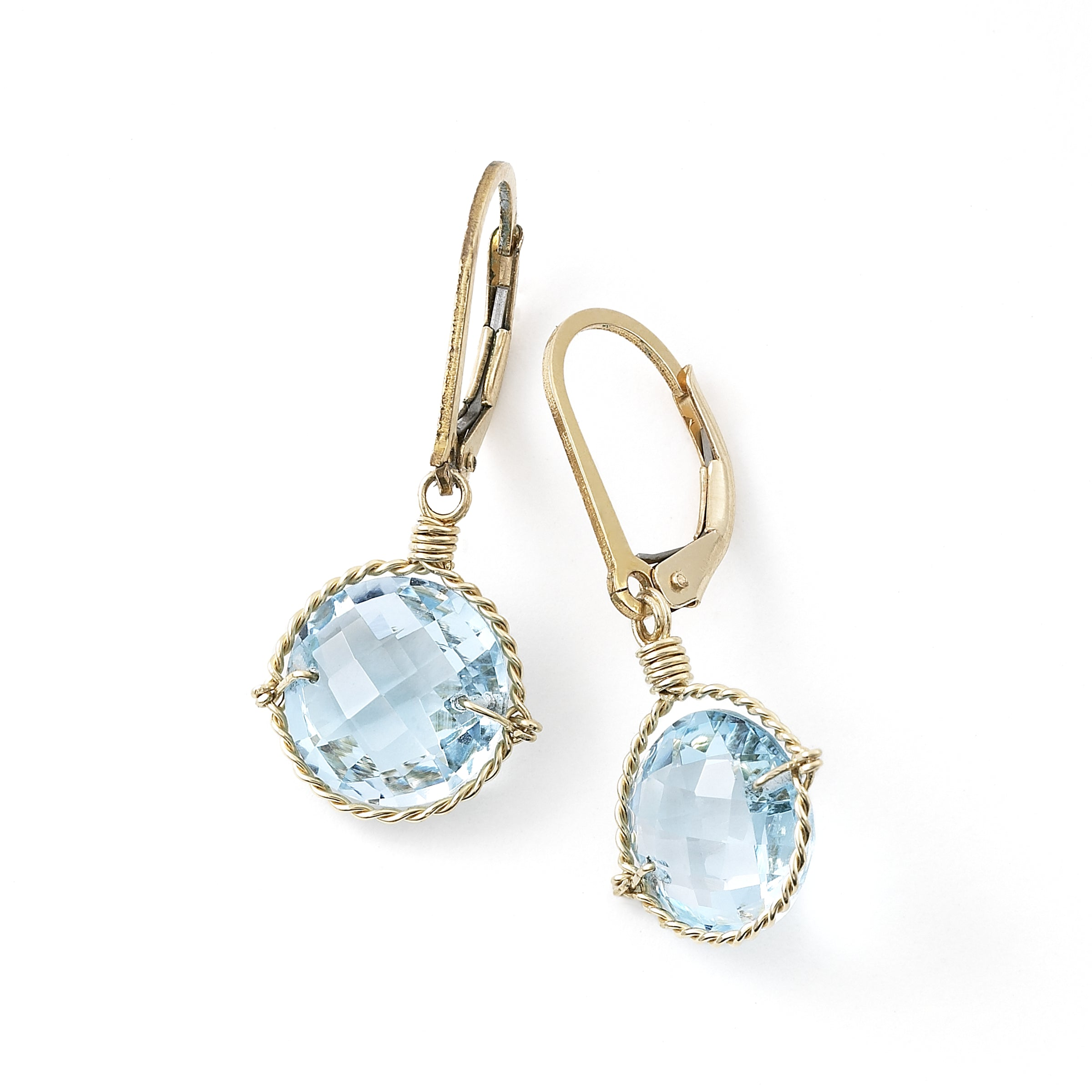 Blue Topaz Drop Earrings, 14K Gold-Filled Wire, by Misha of NY