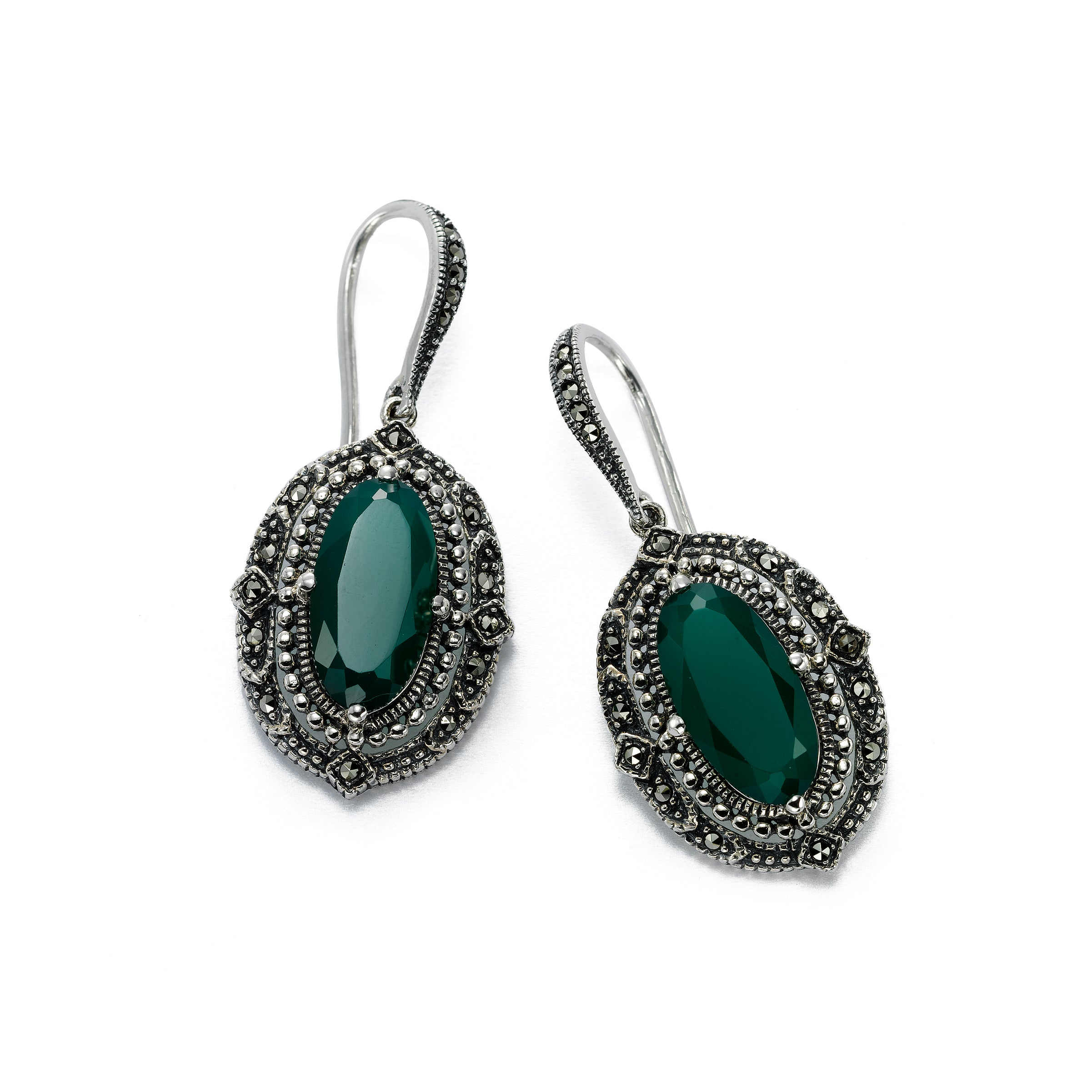 Swarovski Marcasite Earrings with Green Agate, Sterling Silver