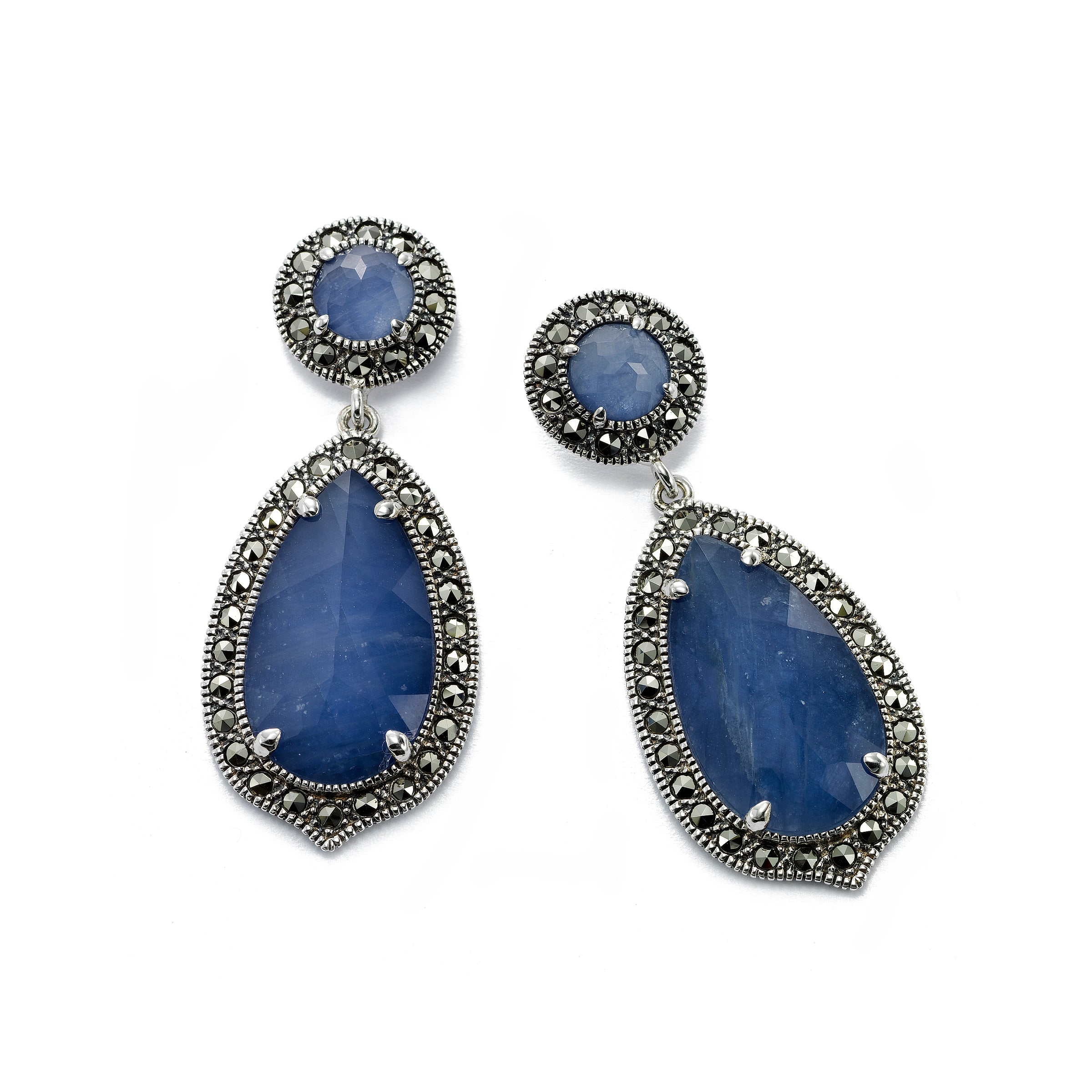 Swarovski Marcasite Earrings with Blue Sapphire Slices, Sterling Silver