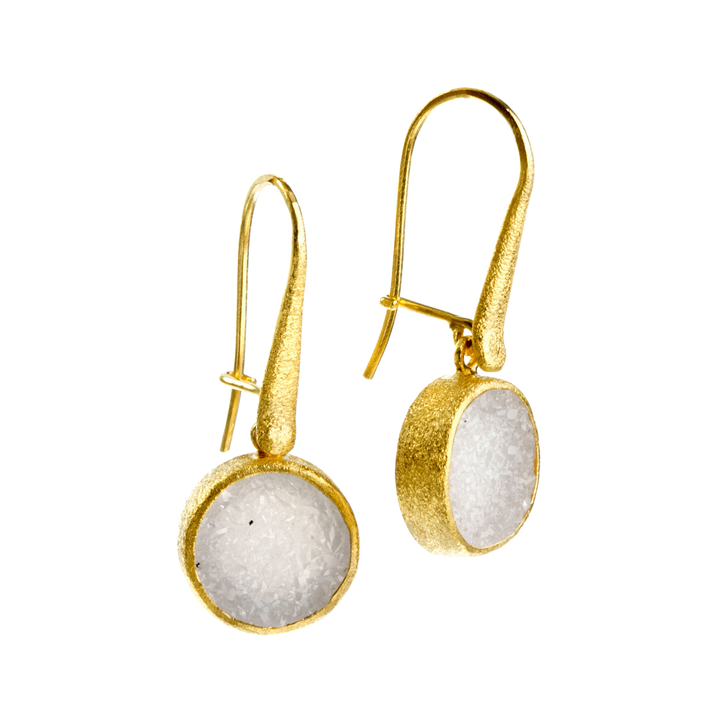White Druzy Drop Earrings, 22K Vermeil