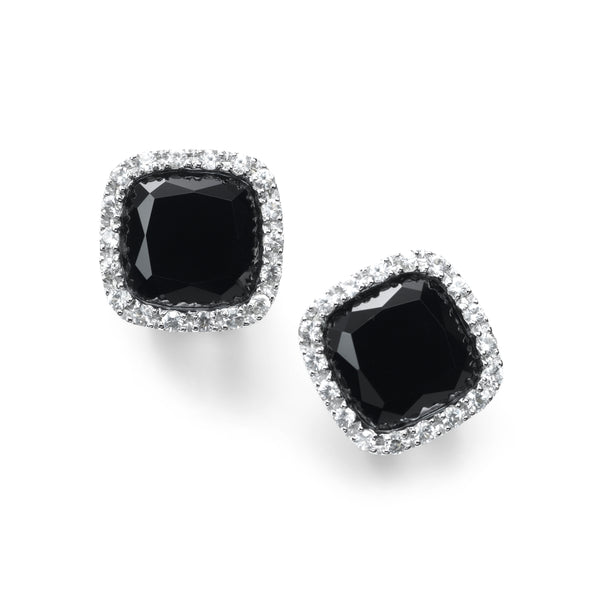 Black Onyx And White Sapphire Earrings, 14K White Gold