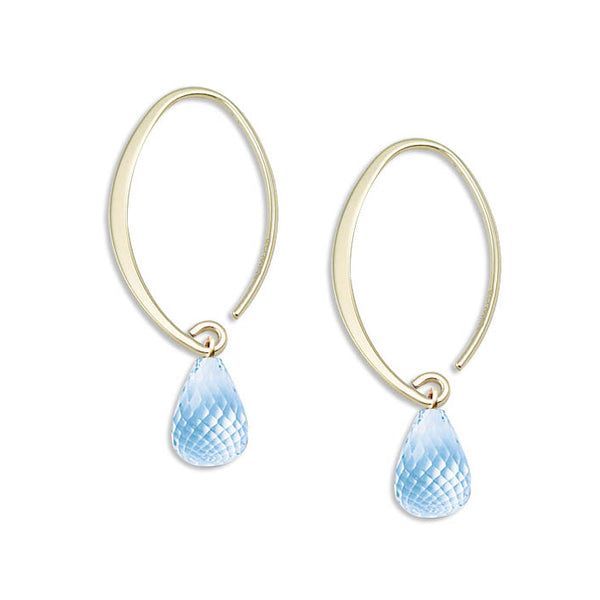 Oval Hoop Earrings with Blue Topaz Briolette, 14K Yellow Gold