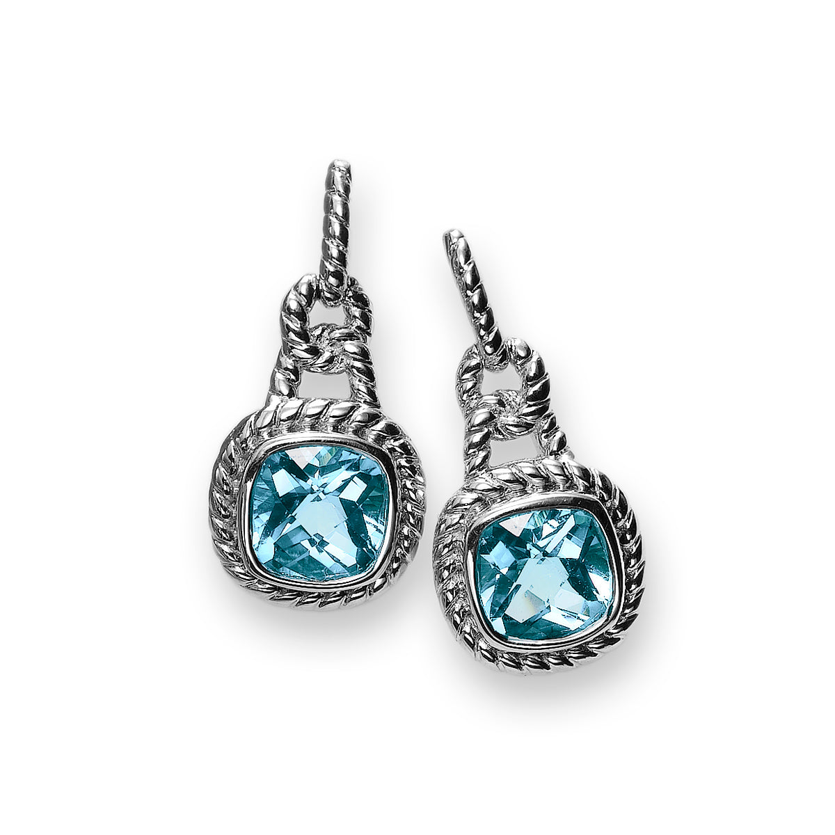 Rope Design Blue Topaz Dangle Earrings, Sterling Silver