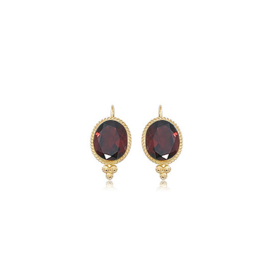 Framed Oval Garnet Earrings, 14K Yellow Gold