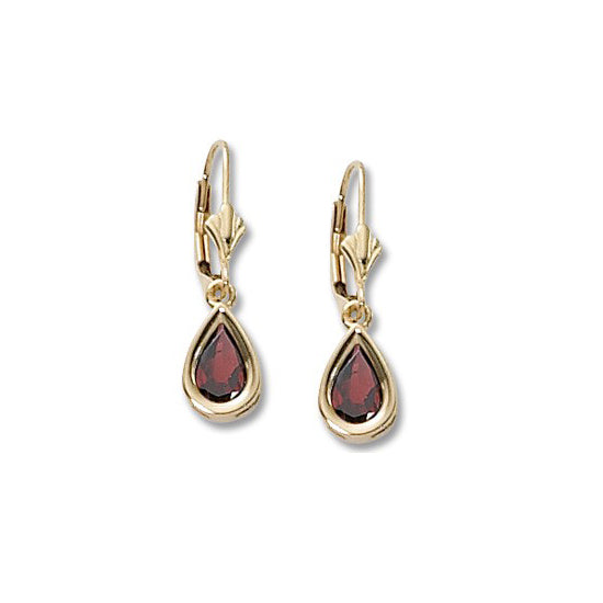 Pear Shaped Garnet Drop Earrings, 14K Yellow Gold