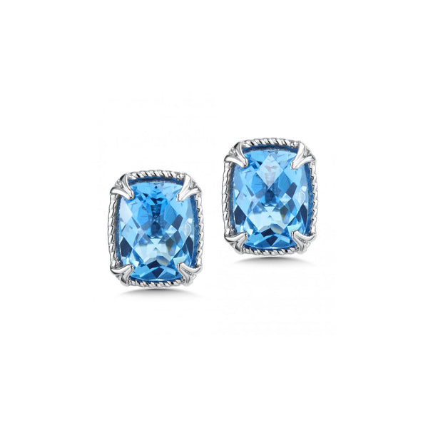 Rectangular Blue Topaz Stud Earrings, Sterling Silver