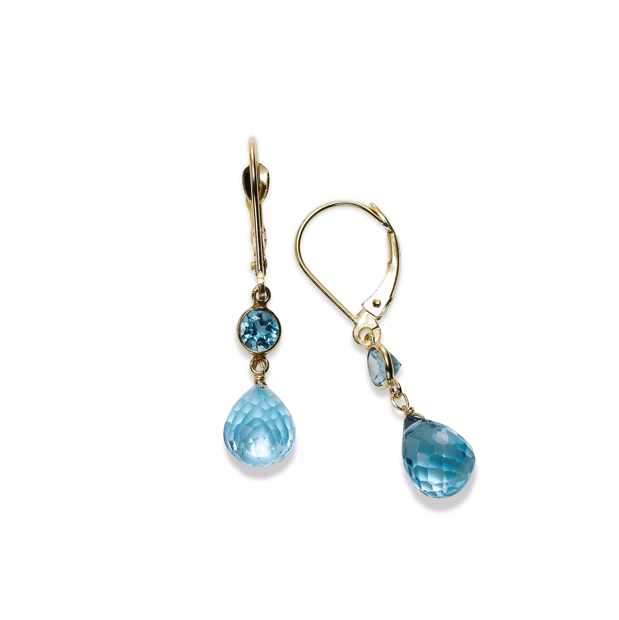 Blue Topaz Briolette Drop Earrings, 14K Yellow Gold