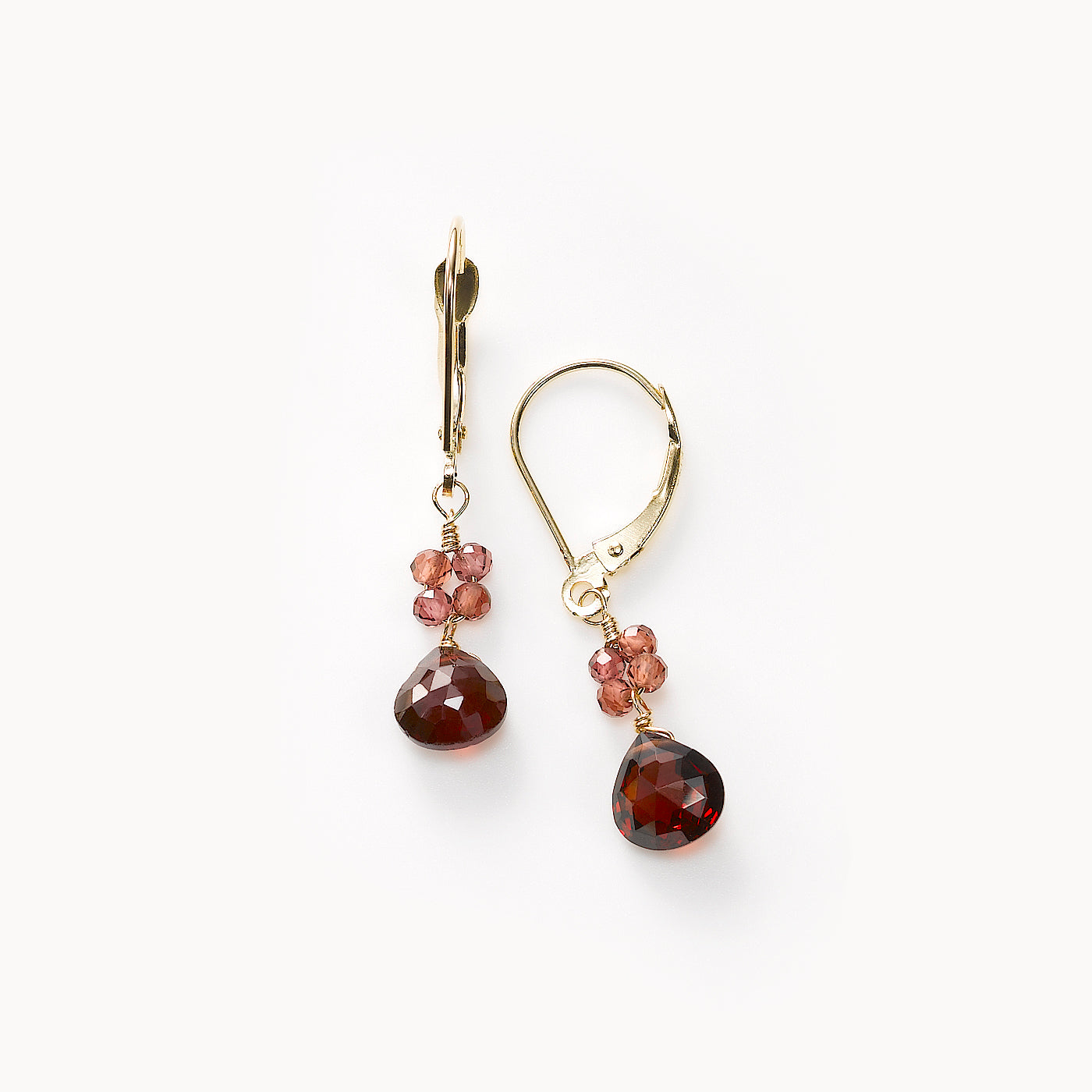 Teardrop Garnet Dangle Earrings, 14K Yellow Gold