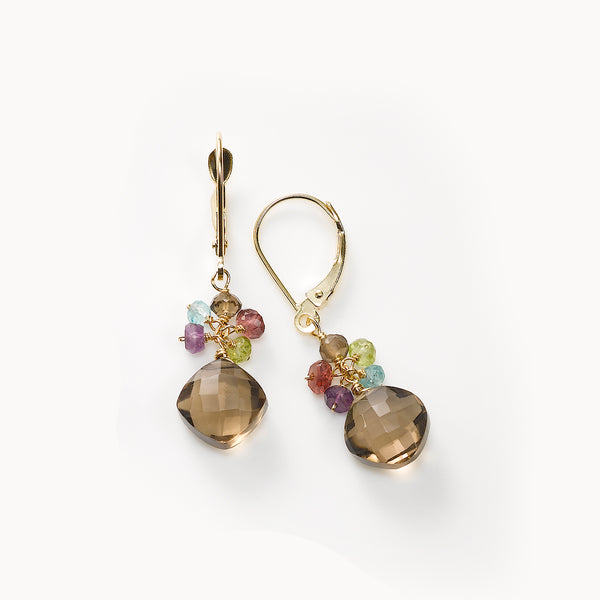 Smoky Quartz and Multi Gemstone Dangle Earrings, 14K Yellow Gold