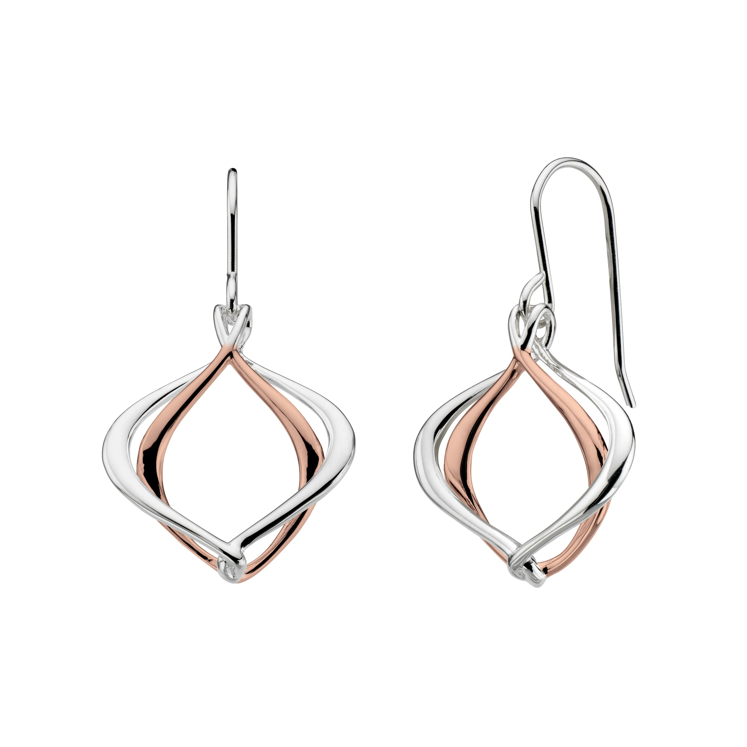 Alicia Drop Earrings, Sterling Silver with 18K Rose Gold Plating
