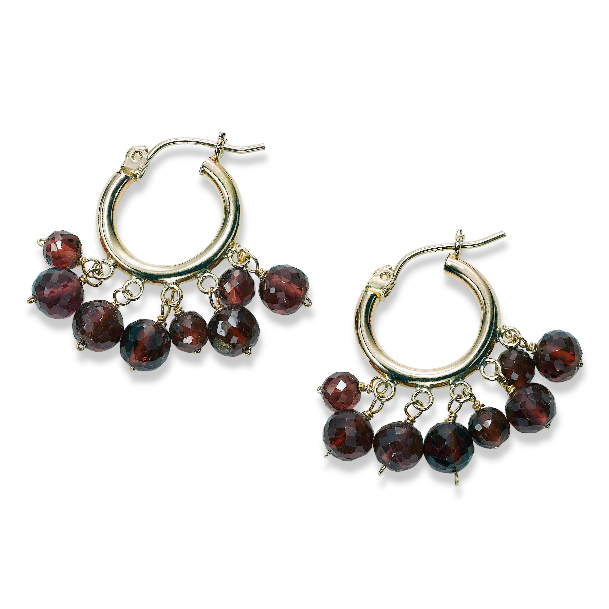 Garnet Dangle Hoop Earrings, 14K Yellow Gold