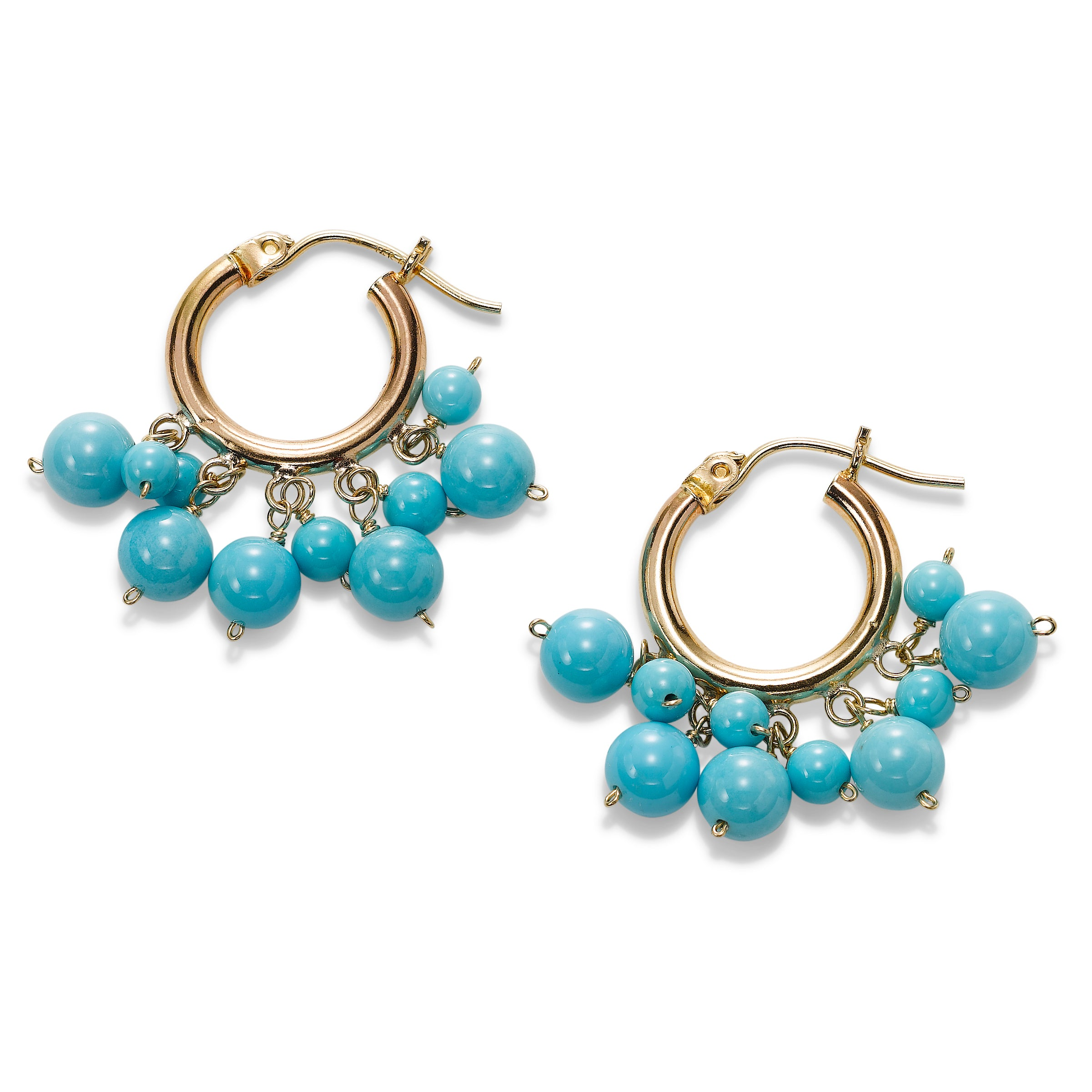 Turquoise Dangle Hoop Earrings, 14K Yellow Gold