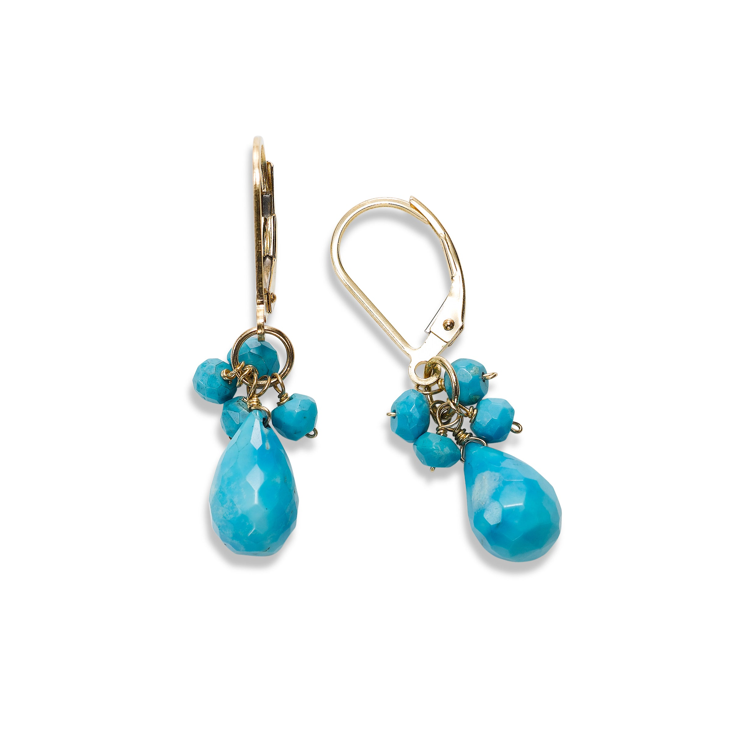Turquoise Dangle Earrings, 14K Yellow Gold