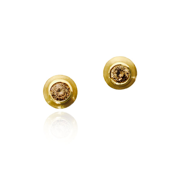 Bezel Set Golden Colored Zircon Stud Earrings, 22K Yellow Gold