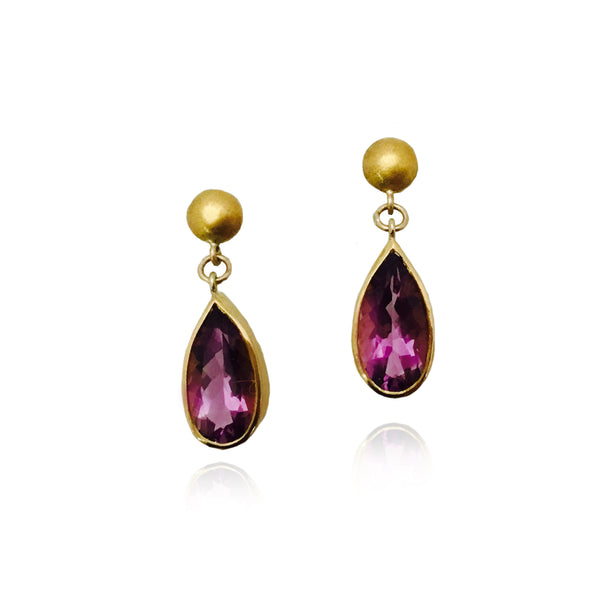 Pear Shaped Amethyst Drop Earrings, 22K Yellow Gold