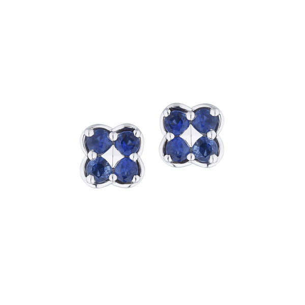 Blue Sapphire Button Earrings, 14K White Gold
