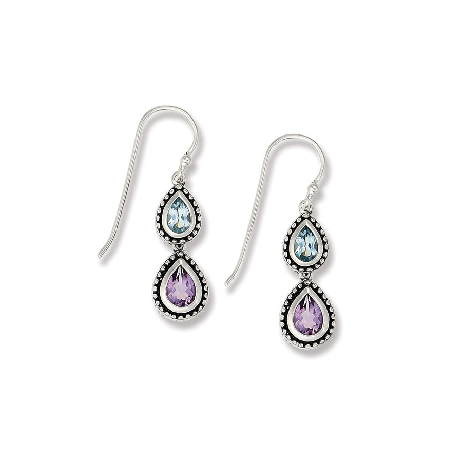 Amethyst and Blue Topaz Dangle Earrings, Sterling Silver