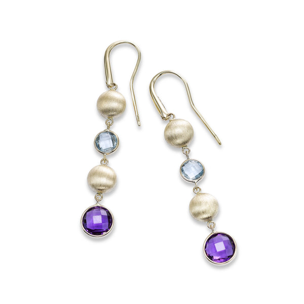 Amethyst, Blue Topaz and Bead Drop Earrings, 14K Yellow Gold